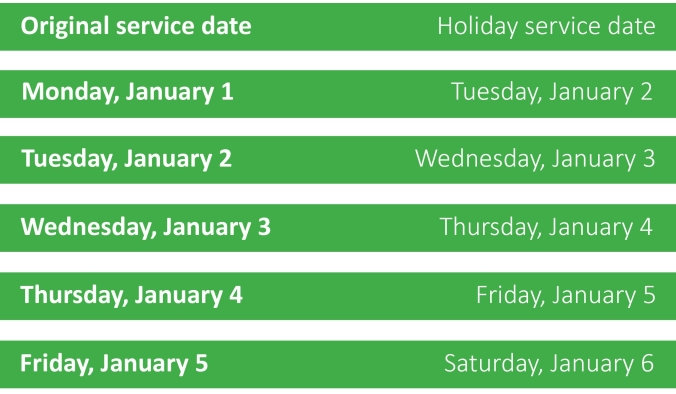 solid waste schedule New Years 18