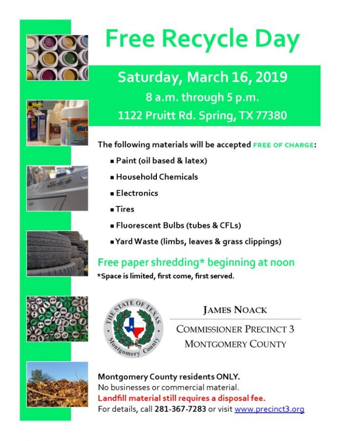 Free Recycle Day This Saturday! | The Woodlands Township